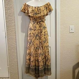 Nude floral toile print maxi dress plus size 3X